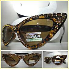 Classy Retro Cat Eye Style SUNGLASSES Tortoise Frame Sparkling Bling Rhinestones
