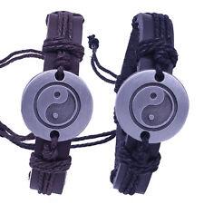 Mens leather and hemp cord Yin Yang charm wristband bracelet
