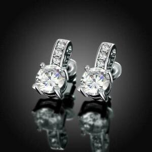 Traditional Stud Engagement Wedding Earrings 2.42 Ct VVS1 Diamond 14k White Gold