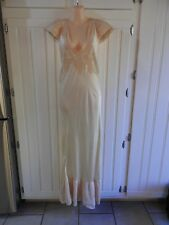 True Vintage 1930's Silk Charmeuse & French Lace Nightdress Gown Bias Cut