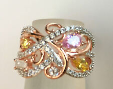 BellaLuce 2.31 Carat 18K Rose Gold /Sterling Silver Ring Sz7