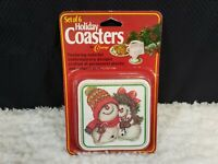 Coasters By Conimar Christmas Holiday Plastic on Cork Set Of 6 Mr & Mrs Snowman