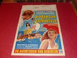 CINEMA AFFICHE ORIGINALE BELGE - ROBINSON ET LE TRIPORTEUR DARRY COWL 1960