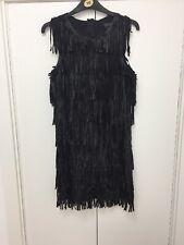 Black Fancy topshop flapper fringe tassle Faux leather dress  Party  8 new