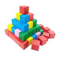 Wooden Blocks Children Building Toys Multicolor Cube Kids Preschool Games CO