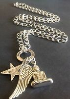 Bijoux Long Chunky Necklace With Large Buddha Star And Wing Charms Boho festival