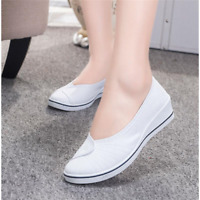 Womens Wedge Heels Canvas Pump Mary Jane Slip On Casual Flat Nurse Shoes Sneaker