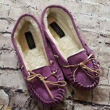 Marc New York Andrew Women's Size 8 Purple Leather Driving Moccasins Fuzzy Inner