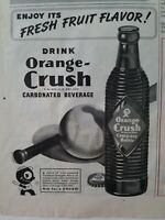 1945 drink Orange Crush carbonated beverage soda ribbed bottle vintage ad