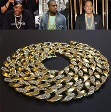 Mens Iced Out 14K Yellow filled Gold Rapper's Miami Cuban Chain Necklace fn3181