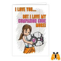 Video Game Valentine's Day Card- anniversary love romantic companion cube portal