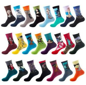Men Women Van Gogh Painting Famous Art Cotton Socks Size7-12  Funky Sox Novelty