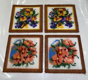 Set Of 4 Woven Floral Fabric Drink Coasters Tableware Textiles