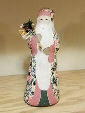 Handmade Fabric Stuffed Santa Claus Figure *Signed