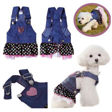 New Casual Canine Dog Denim Jean Dress Clothes Pet Puppy Skirt Apparel Clothing