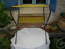 Original 1950s Vintage Side Table, magazine rack, yellow plastic, metal Retro
