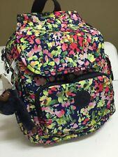 NWT Kipling Challenger City Backpack Book Bag Flowers Charm Navy NEW MATT $104