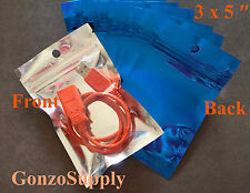 "250PC 3x5"" Clear Front Blue Ziplock Mylar Bags Crafts Storage Organization"