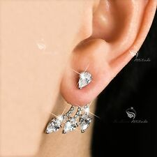 18k white gold gf made with SWAROVSKI crystal fashion stud earrings ear jacket
