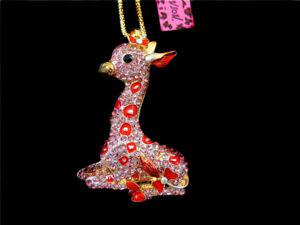 Women's Red Crystal Enamel Giraffe Pendant Long Chain Betsey Johnson Necklace