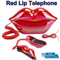 Landline Telephone Corded Desktop Phone Red Lips Shaped for Home Office Hotel