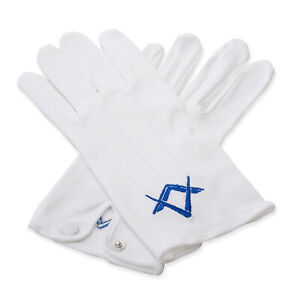 Masonic White 100% Cotton Gloves with Royal Blue Square & Compass