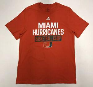 Adidas Miami Hurricanes Basketball Camp Amplifier T-shirt Men Large Orange