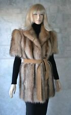 GENUINE Real Golden RACCOON FUR VEST Sleeveless Jacket,  brown, size M