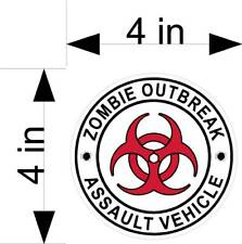 ZOMBIE OUTBREAK ASSAULT VEHICLE car/truck/vehicle/window decals/stickers