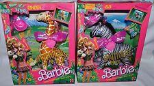 Nib-2 Barbie Animal Lovin Cuddly Friends To Brush Sets-Ginger Giraffe-Zizi Zebra