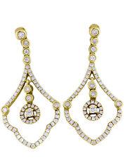 18 Karat Yellow Gold Natural Round SI 1.51 TDW White Multiple Diamonds Earrings