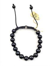 "10mm Genuine Shiny Black Onyx Shamballa Beaded Bracelet 7"" - 8.5"" inches"