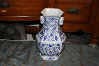 Chinese Blue & White 6 Sided Porcelain Vase Flower Patterns Signed Bottom Large