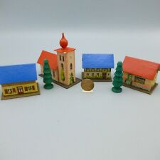 Vintage Mini Cardboard Lithograph Houses Church Putz Christmas Village Germany