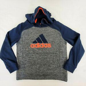 Adidas Boys Youth Medium 10 - 12 Hoodie Gray Navy Tech Fabric