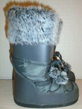 Señoras estilo de la Luna Nieve Esquí Botas Uk Size 3/4-EU 36/37-Nuevo-gris peludo