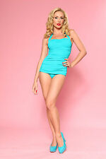 Esther Williams Retro Pin Up One Piece Swimsuit in Teal Size 16 Made in USA