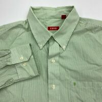 Izod Button Up Shirt Men's Large Long Sleeve Green White Striped Cotton Casual