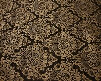 Chenille fabric Dark Brown Cleopatra  Gold Damask upholstery Print furniture
