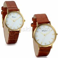 Couples Mens Women Classic Roman Numberals Brown Leather Band Quartz Wrist Watch