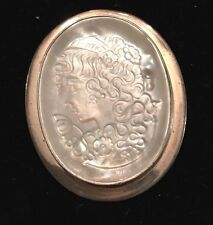 Sterling Silver & Mother Of Pearl Lrg Cameo Brooch /pendant Of Lady W/curly Hair