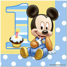 Mickey Mouse Baby NAPKINS Lunch 1st First Birthday Decoration Party Supplies Boy