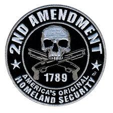 HOMELAND SECURITY 2ND AMENDMENT SKULL ROUND NRA GUN HOOK PATCH