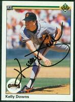 Original Autograph of Kelly Downs of the San Francisco Giants on a 1990 UD