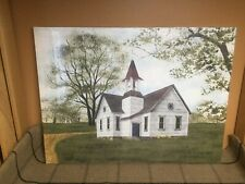 Let Go and Let God by Billy Jacobs, Large Canvas Picture, Country Church Tulips