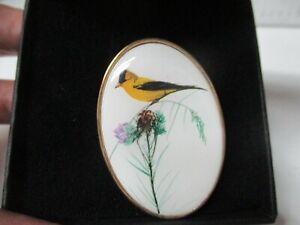 P Buckley Moss Society Pin Brooch Pendant 2012 Bird on Flower - Original Box