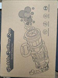 Automatic Bubble Gun Machine for Kids Gatling Bubble Machine w/ 2Pcs Solutions