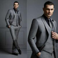 Dark Gray Men Suit Groom Wedding Suit For Best Men Slim Fit Formal Tuxedo Blazer
