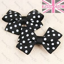 SET 2pcs RETRO HAIR BOWS slides POLKA DOT dotty BLACK&WHITE pin/slide/clip PAIR