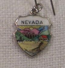 Vintage REU Sterling/Enamel Nevada State Seal Bracelet Travel Charm - NOS
